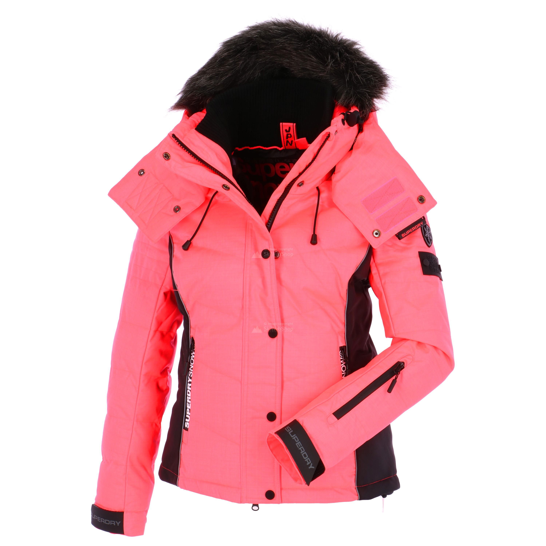 superdry snow puffer ski jas dames fluro koraal zwart. Black Bedroom Furniture Sets. Home Design Ideas