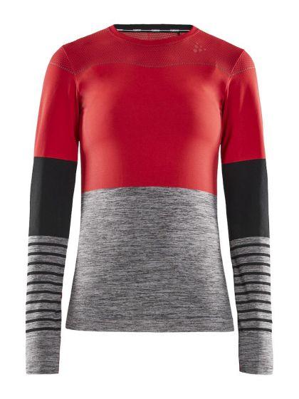 Craft, Fuseknit comfort Blocked RN LS, thermoshirt, dames, beam/dark melange grijs/rood