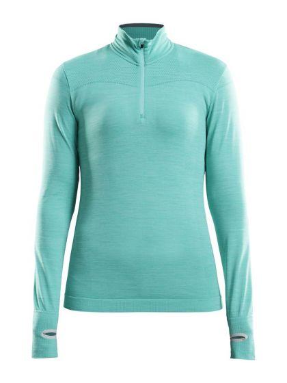 Craft, Fuseknit comfort zip, thermoshirt, dames, paradise melange blauw