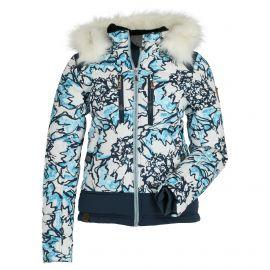 Almgwand, Lungauer OP, ski-jas, dames, ecru turquoise flowered dark blauw