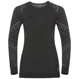 Odlo, Natural+Kinship Warm BL, thermoshirt, dames, melange zwart