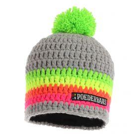 Poederbaas, Short colorful, muts, grijs/groen/roze