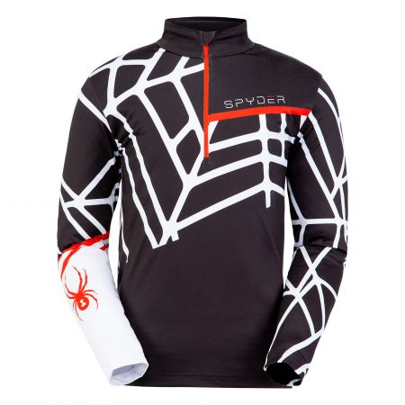 Spyder, Vital zip T-neck, skipully, heren, wit/zwart