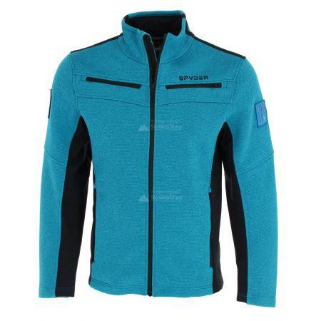 Spyder, Wengen encore full zip fleece vest heren lagoon Blauw