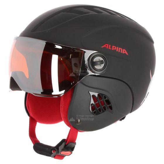 Alpina, Carat Le Visor HM, kinder skihelm, zwart-rood mat