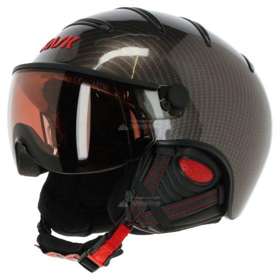 Kask, Elite pro, skihelm met vizier, carbon zwart-rood photochromic