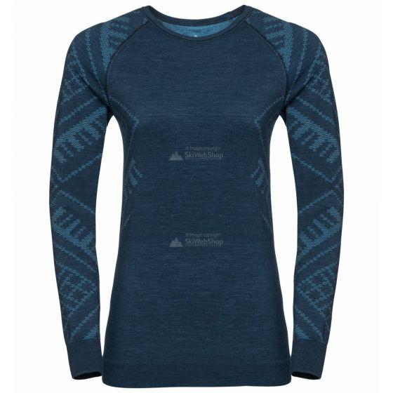 Odlo, Natural+Kinship Warm BL, thermoshirt, dames, melange blauw