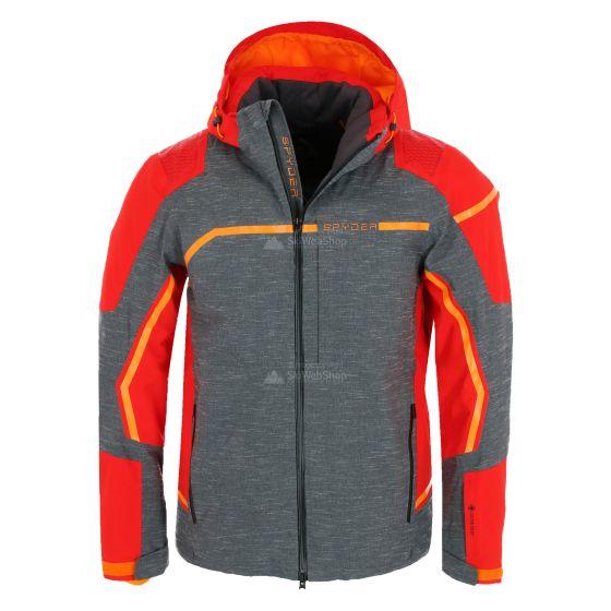 Spyder, Titan GTX, ski-jas, lang model, heren, ebony grijs/rood