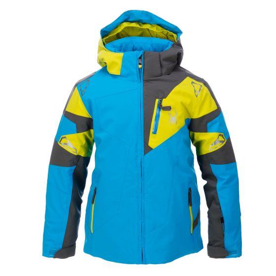 Spyder, Leader ski-jas, kinderen, electric blauw - polar grijs - sulfur groen