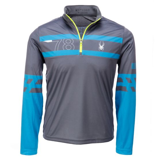 Spyder, Heritage Dry WEB T-neck, skipully, heren, polar grijs - electric blauw - bryte geel
