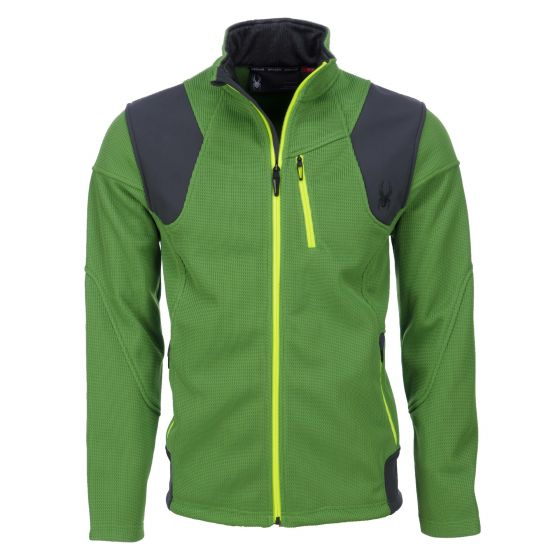 Spyder, skivest, Legend 3L, Mid WT Stryke Fleece, blade groen - polar grijs - bryte geel (Ski kleding heren)