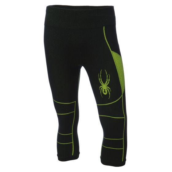 Spyder, Structure 3/4 pant, thermobroek, zwart - bryte geel (Ski kleding heren)