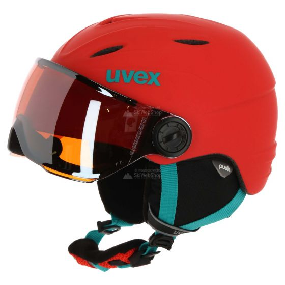 Uvex, Junior visor pro, skihelm met vizier, kinderen, oranje-petrol